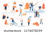 happy people spend leisure time ... | Shutterstock .eps vector #1176078259