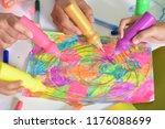 portrait of hands of people... | Shutterstock . vector #1176088699