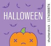halloween card with dead kawaii ...   Shutterstock .eps vector #1176088876