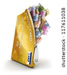 3d open credit card with a lot...   Shutterstock . vector #117611038