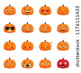 set of funny pumpkins emoticons ... | Shutterstock .eps vector #1176111433