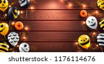 happy halloween background with ... | Shutterstock .eps vector #1176114676