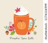pumpkin spice latte coffee cup... | Shutterstock .eps vector #1176116599