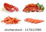 Set Of Sea Food On A White...