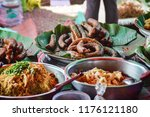 street foods on the famous... | Shutterstock . vector #1176121180