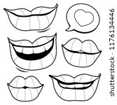a set of female smiling lips.... | Shutterstock .eps vector #1176134446