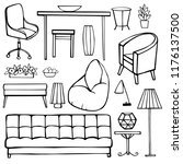 furniture  lamps and plants for ...   Shutterstock .eps vector #1176137500