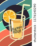 happy hour poster design with a ... | Shutterstock .eps vector #1176140290