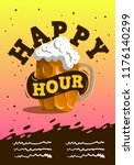 happy hour poster  design with... | Shutterstock .eps vector #1176140299