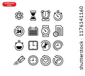 set of time related vector line ... | Shutterstock .eps vector #1176141160