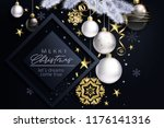 glam christmas card with white... | Shutterstock .eps vector #1176141316