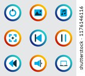 multimedia icons colored set...   Shutterstock .eps vector #1176146116