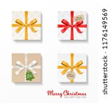 square gift box set. gold  red  ... | Shutterstock .eps vector #1176149569