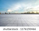 empty square with city skyline... | Shutterstock . vector #1176150466