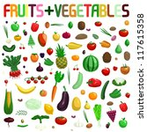 large fruit and vegetable... | Shutterstock .eps vector #117615358