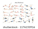 abs workout for men and women.... | Shutterstock .eps vector #1176153916