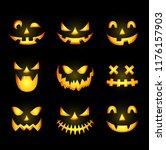 scary halloween pumpkin face... | Shutterstock . vector #1176157903