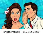 man whispering gossip or secret ... | Shutterstock .eps vector #1176159259