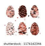 cedar cone set  sketch for your ... | Shutterstock .eps vector #1176162346