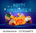 halloween kids having fun and... | Shutterstock .eps vector #1176166873