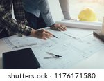 two engineering man working... | Shutterstock . vector #1176171580