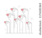 hands hold hearts. charity...   Shutterstock .eps vector #1176181363