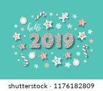 happy new year 2019 template.... | Shutterstock .eps vector #1176182809