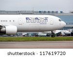MOSCOW - OCT 23: ELAL Boeing 767 landed in Moscow on OCT 23,2012. In 2012, El Al announced plan to restructure its fleet with 20 new aircraft in the next ten years. El Al operates by 44 aircraft. - stock photo