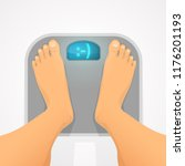 good weight. person standing on ... | Shutterstock .eps vector #1176201193