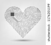 electronic heart with a... | Shutterstock .eps vector #1176201199