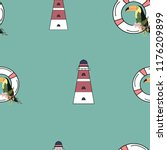 travel seamless pattern with... | Shutterstock .eps vector #1176209899