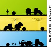 agriculture tractors making hay ... | Shutterstock .eps vector #117621859