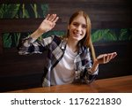 beautiful girl with phone ...   Shutterstock . vector #1176221830