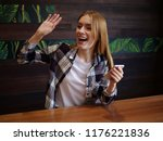 beautiful girl with phone ...   Shutterstock . vector #1176221836