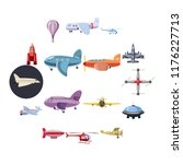 aviation icons set in cartoon... | Shutterstock . vector #1176227713