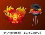 bbq party poster with text in... | Shutterstock .eps vector #1176230926