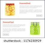 preserved food pea posters with ... | Shutterstock .eps vector #1176230929