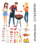 bbq barbecue people man and... | Shutterstock .eps vector #1176230950