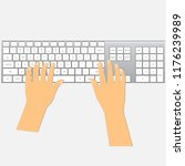 human hands on keyboard | Shutterstock .eps vector #1176239989
