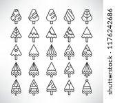 christmas tree icons  line | Shutterstock .eps vector #1176242686