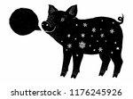 black pig ink grunge silhouette ...   Shutterstock .eps vector #1176245926