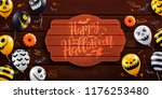 happy halloween background with ... | Shutterstock .eps vector #1176253480