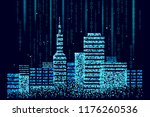 smart city 3d spotted dots.... | Shutterstock .eps vector #1176260536