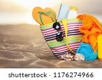 colorful towels  cosmetics... | Shutterstock . vector #1176274966