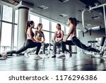 four athletic woman performing... | Shutterstock . vector #1176296386