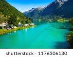norwegian landscape with... | Shutterstock . vector #1176306130