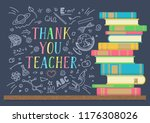 thank you teacher. stack of... | Shutterstock .eps vector #1176308026