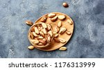 brazil nuts on gray background. ... | Shutterstock . vector #1176313999