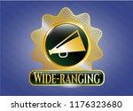 shiny emblem with megaphone... | Shutterstock .eps vector #1176323680