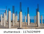 concrete and iron pillars ...   Shutterstock . vector #1176329899